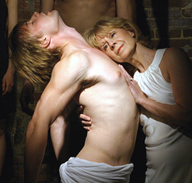 Brandon Ruckdashel and Barbara Mundy in A BODY WITHOUT A HEAD; photo by Michael Portantiere