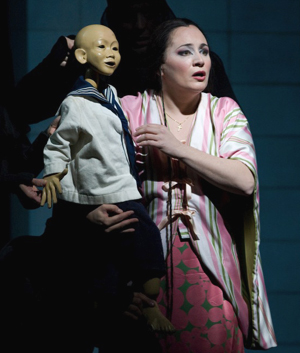 Patricia Racette in MADAMA BUTTERFLY; photo by Marty Sohl/Metropolitan Opera