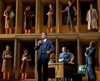 Gerald Finley and company in DOCTOR ATOMIC; photo by Ken Howard/Metropolitan Opera
