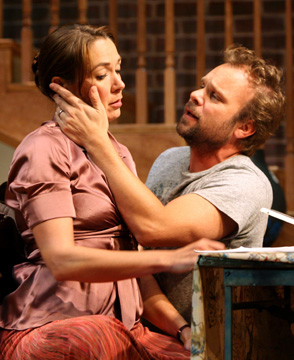 Elizabeth Marvel and Norbert Leo Butz in FIFTY WORDS; photo by Joan Marcus