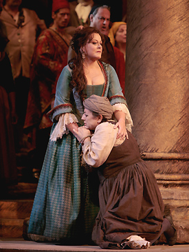 Deborah Voigt and Ewa Podles in LA GIOCONDA; photo by Beatriz Schiller/Metropolitan Opera