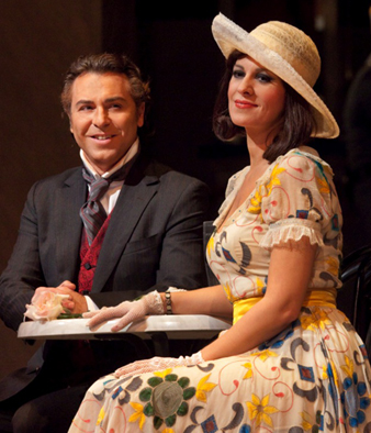 Roberto Alagna and Angela Gheorghiu in LA RONDINE; photo by Ken Howard/Metropolitan Opera