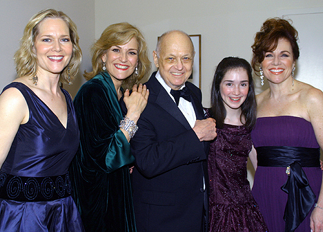 Rebecca Luker, Karen Mason, Charles Strouse, Emma Rowley, and Debbie Gravitte; photo by Michael Portantiere
