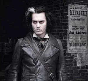 Johnny Depp in SWEENEY TODD, photo by Peter Mountain