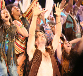Will Swenson and company in HAIR; photo by Joan Marcus