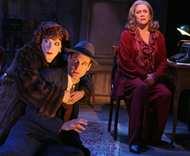 Charles Busch, Jonathan Walker, and Kathleen Turner in THE THIRD STORY; photo by Joan Marcus